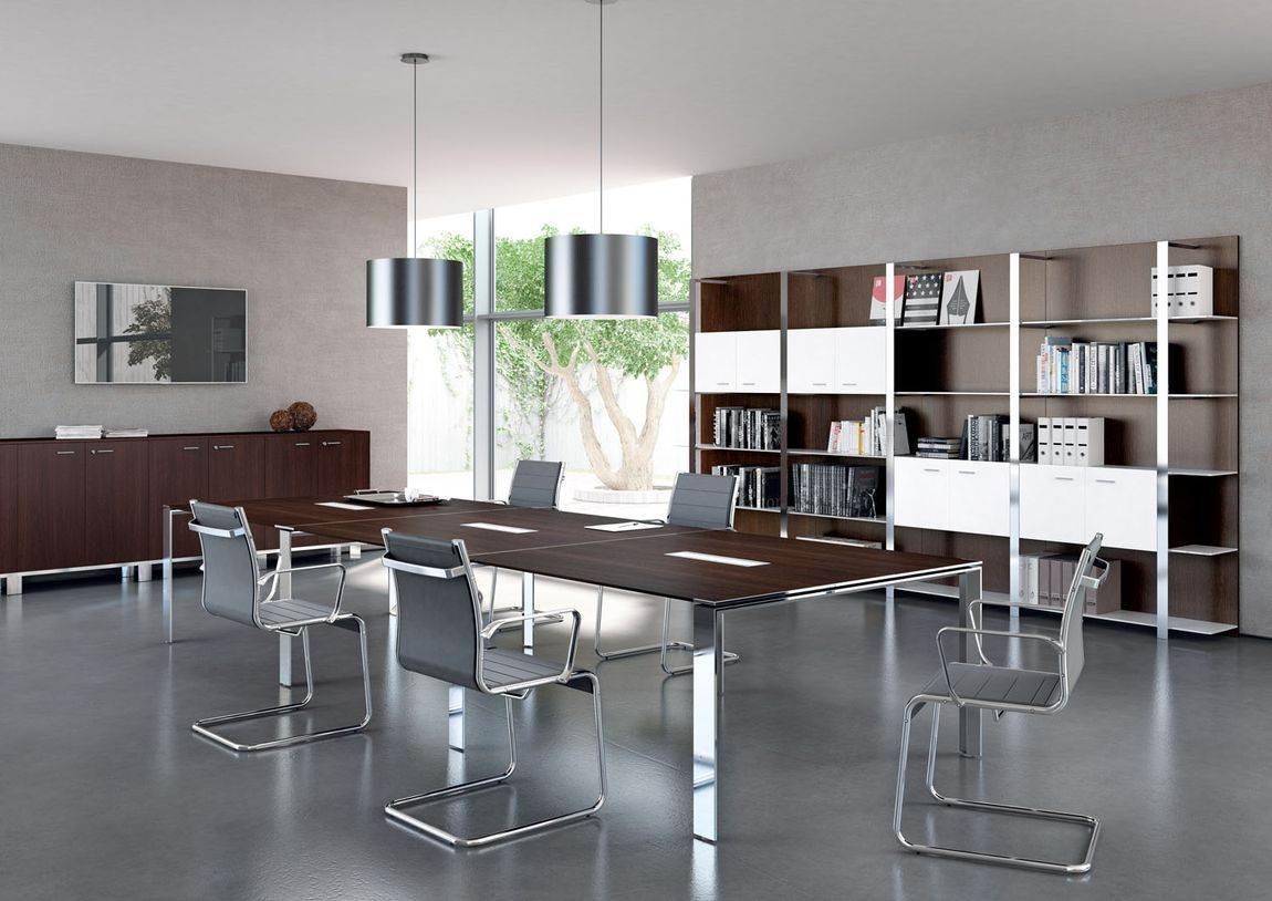 Modern conference tables glass conference tables for Mobilier bureau quadrifoglio