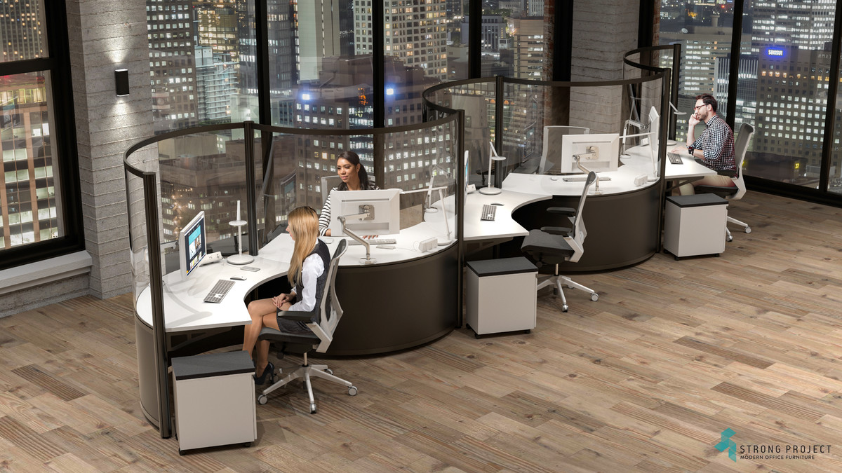 Black and White Office Workstations