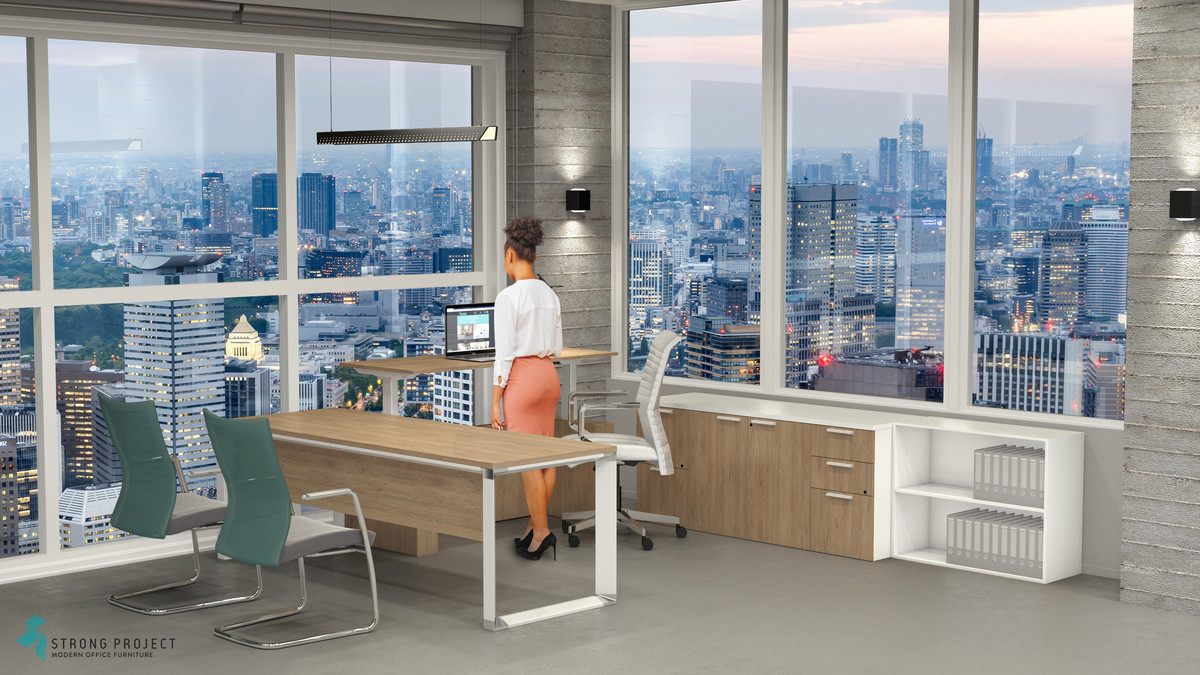 Sit-Stand Executive U-Shape Desk Set