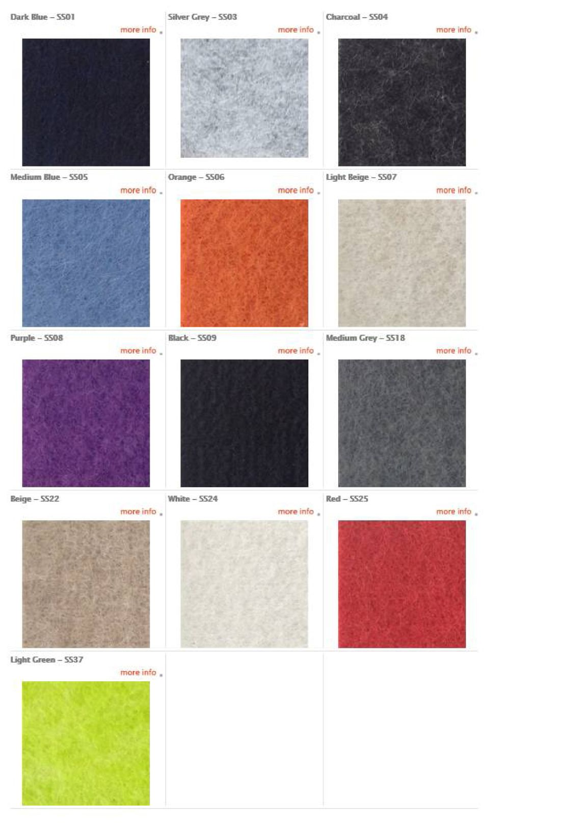Acoustic Felt Colors