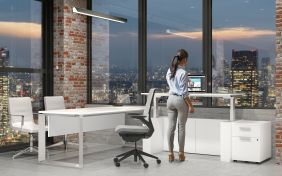 Standing Desks and Height Adjustable Desks promote employee health and well-being and are very popular Office Furniture items in today's Modern Workplace