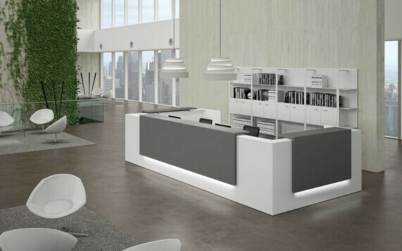 The Modern Reception Desks for sale in our collection include L Shape, Curved and Glass designs and will make a strong first impression for your business