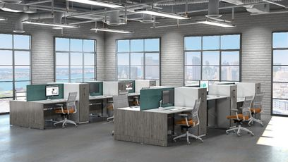 Height Adjustable Workstations with NEW Personal Storage Towers