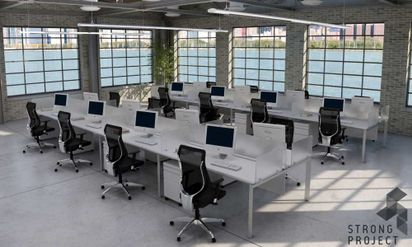Modern Office Workstations and Contemporary Benching Systems