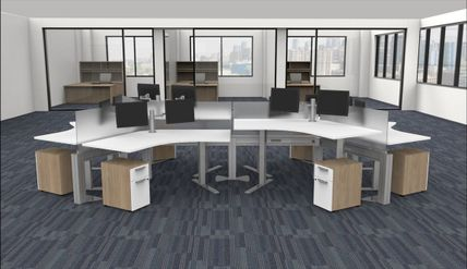 Sit Stand Workstations with Power-Data Beam