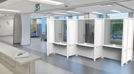 Connected COVID-19 Screening Booths in Offset Configuration