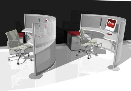 Curved Workstations for Creative Office Space