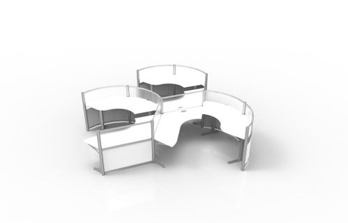 Futuristic office furniture Beautiful Strongproject Height Adjustable Curved Workstations Futuristic Office Furniture