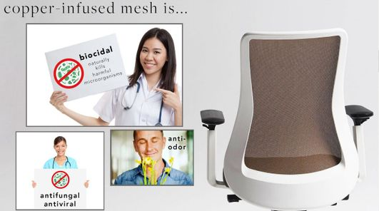 Self-Sanitizing Mesh Task Chair that's Biocidal, Antifungal, Antiviral & Anti-Odor