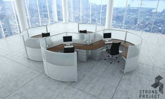Curved Workstations - Futuristic Office Furniture
