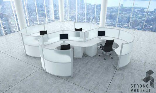 wonderful futuristic office desk   Curved Workstations - Futuristic Office Furniture