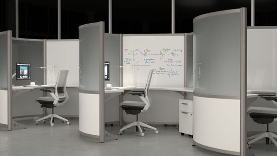 Curved Workstations with Privacy Screens