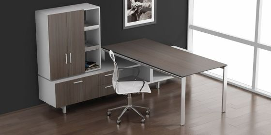 Modern Office Desk Set with Wardrobe
