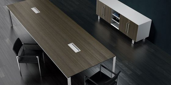 Contemporary Conference Table With Integrated Power Data HDMI - Conference table with power and data