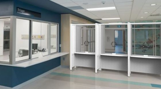 Connected Healthcare Assessment Booths with Privacy Side Dividers