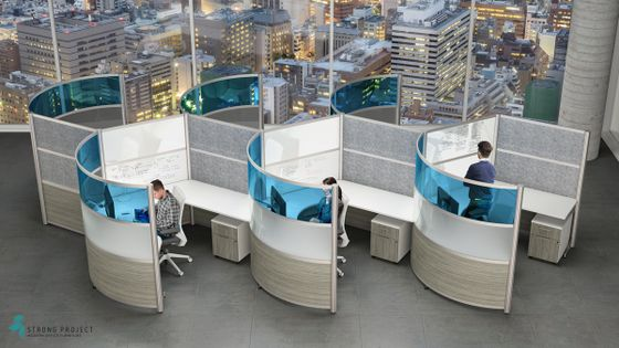 Curved Cubicles with High Walls
