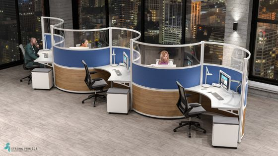 Modern Cubicles with High Curved Acrylic Dividers