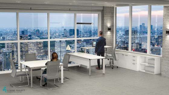 Executive Sit Stand Office Desk Set and Meeting Table