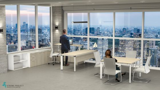 Executive  Adjustable-Height Desk Set and Meeting Table