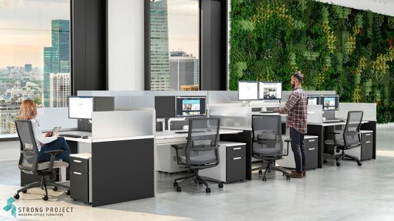 Call Center Cubicles with Height-Adjustable Desks