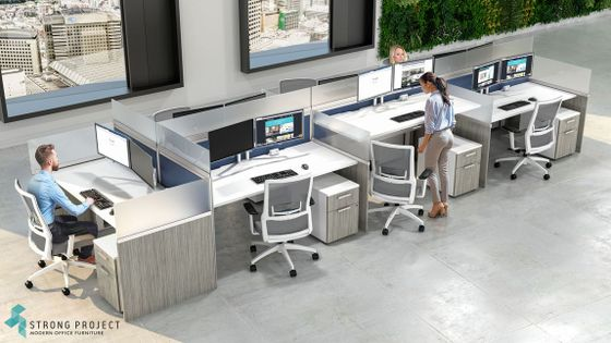 Modern Call Center Cubicles with Stand Up Office Desks