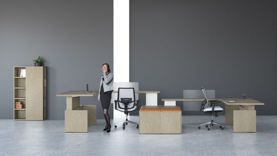 Height Adjustable L-Shape Desks