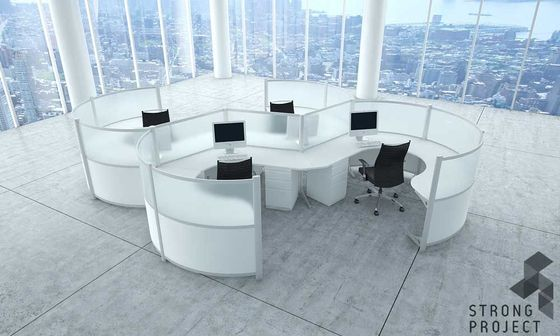 Curved Workstations   Futuristic Office Furniture