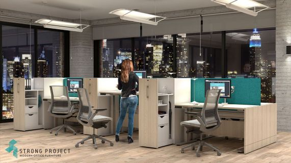 Modular Workstations with Cubicle Cabinets