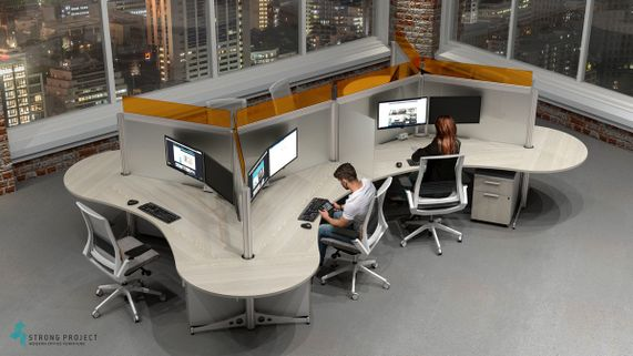 Modern Cubicles with Privacy Screens